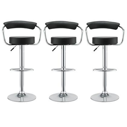 Diner Collection EEI-931-BLK Set of 3 Bar Stools with 360-Degree Swivel Seat  Adjustable Height  Pedestal Base  Footrest Support  Steel Frame and Vinyl