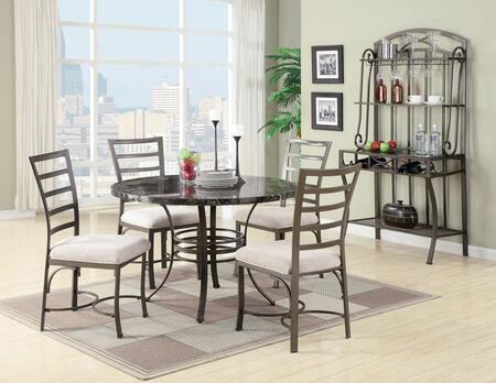 Val Collection 70057TCBR 6 PC Dining Room Set with Dining Table + 4 Side Chairs + Baker's Rack in Antique Bronze