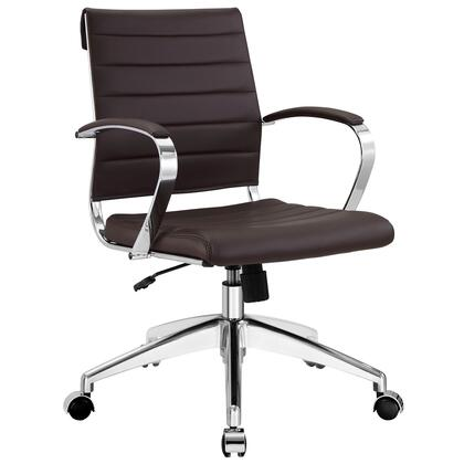 Jive Collection EEI-273-BRN Office Chair with 5-Caster Dual Wheel Base  Padded Arms  Chrome-Plated Aluminum Frame  Tilt Lock Tension Control  Adjustable Height
