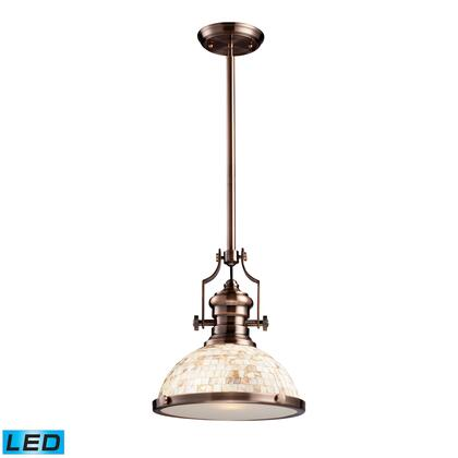 66443-1-LED Chadwick 1-Light Pendant Antique Copper and Cappa Shell -