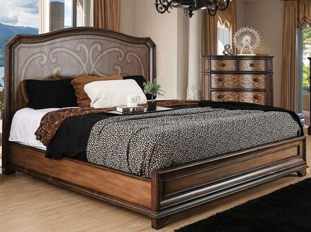 Emmaline Collection CM7831CK-BED California King Size Panel Bed with Wooden Headboard  Laser Cut Drawer Panel Design  Solid Wood and Wood Veneer Construction