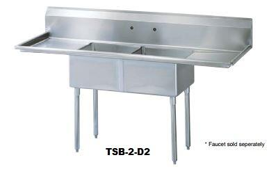TSB-2-D2 Drain Board 96 inch W Two Compartment Sink with Swirl Away Bowl Drainage  Two Drain Boards and Adjustable ABS Bullet Feet in Stainless