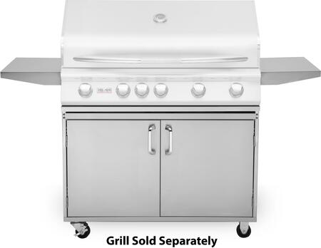 DSGB40 40 inch  Grill Base with Fixed Side Shelves  Access Doors  Two Locking Swivel Casters and Two Stationary Casters  in Stainless