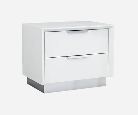 NS1354WHT Navi Night Stand  High Gloss White With Stainless Steel Trim  2 Drawers With Self-Close Runners  Stainless Steel