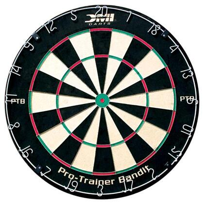 60006 Pro Trainer Bandit Regulation Size 18 inch x1.5 inch  Staple-Free Bristle Dartboard with  Patented Razor Thin Spider Wire  and Powder Coated Number