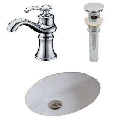 AI-13109 19.5-in. Width x 16.25-in. Diameter CUPC Oval Undermount Sink Set In White With Single Hole CUPC Faucet And