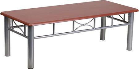 JB-5-COF-MAH-GG Mahogany Laminate Coffee Table with Silver Steel