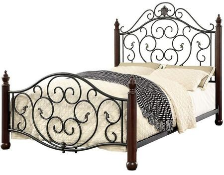 Lucia Collection CM7688T Twin Size Bed with Fluted Bed Posts  Scroll Design and Full Metal Construction in Powder Coated Black