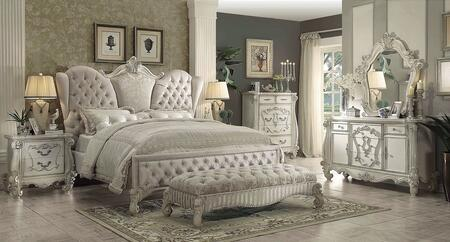 Versailles Collection 21127EK6PC Bedroom Set with King Size Bed + Dresser + Mirror + Chest + Nightstand + Bench in Bone White