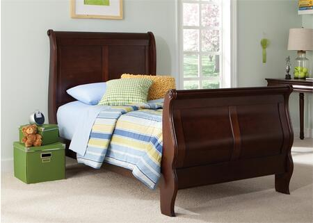 Carriage Court Collection 709-YBR-TSL 84 Twin Sleigh Bed with Classic Louis Philippe Styling  Bolt-On Rail System and Molding Details in Mahogany Stain