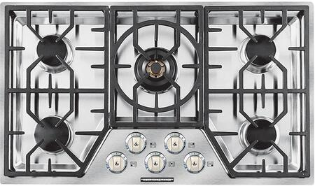 ARDCT365N 36 inch  Vitesse Series Natural Gas Cooktop with 5 Sealed Burners  500 BTU's Simmer Setting  Brass Burner Heads  Porcelain Burner Caps  Automatic