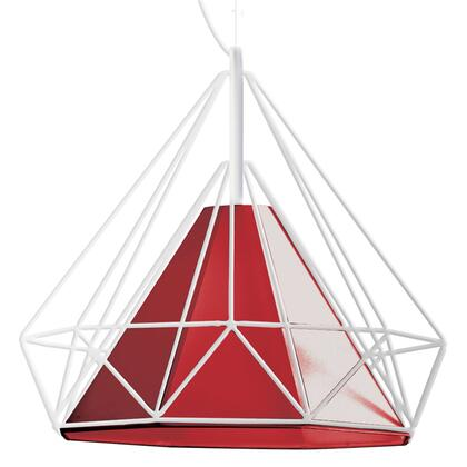 246-181P-RD 1 Light Metal Framed Pendant With Red Shade  White