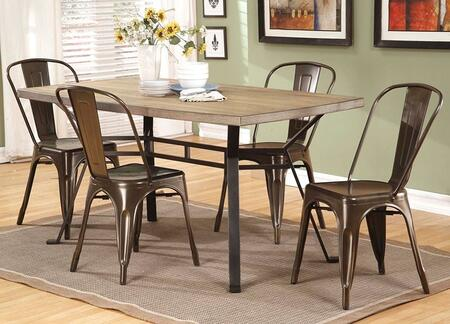 Dervon Collection 71650T5C 5 PC Dining Room Set with Dining Table and 4 Side Chairs in Light Oak and Grey Metal