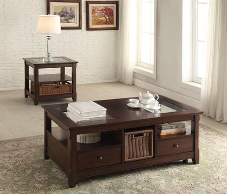 Hagen 81760EC 2 PC Living Room Table Set with Coffee Table + End Table in Cherry