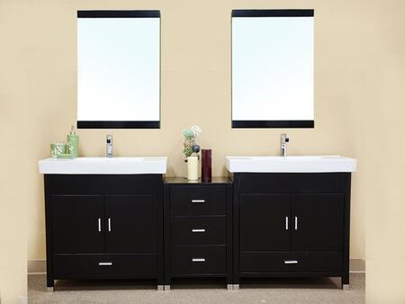 203107 Collection 203107DSET 3 PC Vanity Set with White Ceramic Countertop Double Sink Vanity and 2 Mirrors in Black