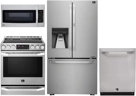 4-Piece Stainless Steel Kitchen Package with LSFXC2476S 36 inch  French Door Refrigerator  LSSE3026ST 30 inch  Slide-in Electric Range  LSDF9962ST 24 inch  Fully Integrated