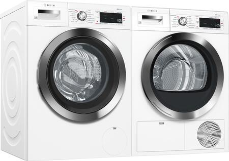 White Front Load Compact Laundry Pair with WAW285H2UC 24 inch  Washer and 24 inch  WTG865H2UC Condensation Electric