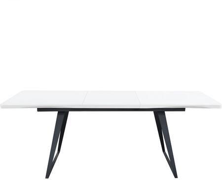 Tempo TEMPODTWH 60 inch  - 82 inch  Extension Dining Table in White Lacquer Finish & Black Powder Coated
