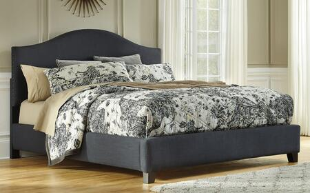 Kasidon Collection B600456458497 King Size Upholstered Bed with Camel Back  Dark Grey Textured Fabric  Thick Arch Shape and Nailhead Trim in Dark Grey