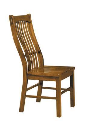 LAURO275K Laurelhurst Slatback Side Chair  Contoured Solid Wood Seat  Rustic Oak