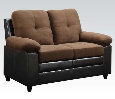 Santiana Collection 51366 59 inch  Loveseat with Wood Frame  Tight Cushions  Pillow Top Arms and Bycast PU Leather Upholstery in Chocolate Easy Rider