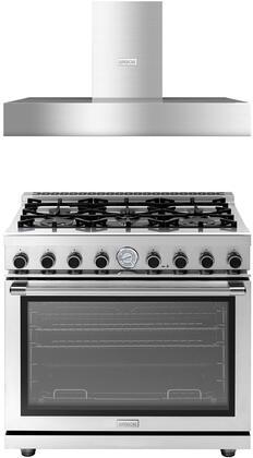 2-Piece Stainless Steel Kitchen Package with RN361GPSSL 36 inch  Freestanding Liquid Propane Range