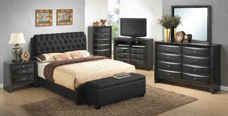 G1500CTBUPCHDMNTVB 7 Piece Set including  Twin Size Bed  Chest  Dresser  Mirror  Nightstand  Media Chest and Bench  in