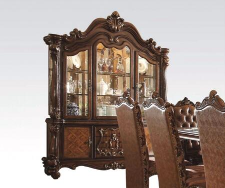 Versailles Collection 61104 72 inch  China Cabinet with 4 Doors  2 Glass Shelves  3 Drawers  3 Touch Lights and Green Felt Lined Drawers in Cherry Oak