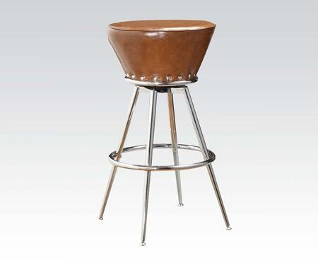 71567 Set of 2 Zain Bar Stools with Swivel in Brown PU Upholstery and Chrome