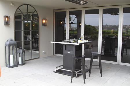 FIRE-N-TABLE 43 inch  Fire-N-Table with 31 000 BTU  Electronic Ignition with Thermocouple  Tempered Glass Top  304 Stainless Foot Rail and CE and UL