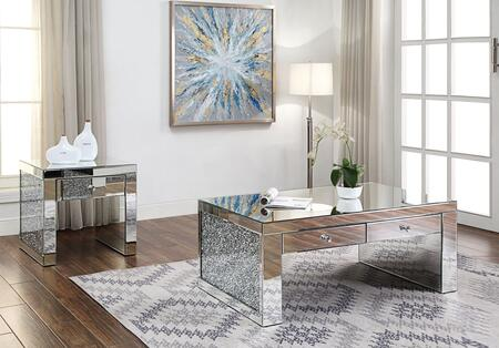 Noralie Collection 81475CE 2 PC Living Room Table Set with Rectangular Shaped Coffee Table and Square Shaped End Table in Mirrored