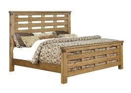 Pioneer CM7448EK-BED Eastern King Bed with Country Style  Slatted Headboard and Footboard in Weathered