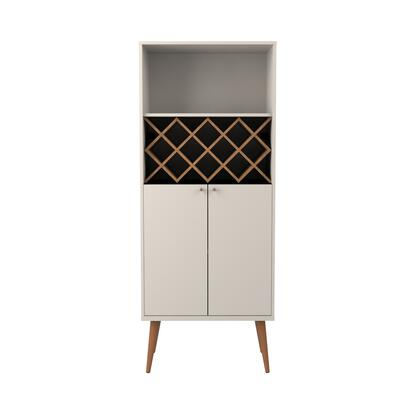 89951 Utopia 10 Bottle Wine Rack China Storage Closet with 4 Shelves in Off White and Maple