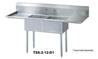 TSA-2-12-D1 Drain Board 72 inch W Two Compartment Sink with Swirl Away Bowl Drainage  Two Drain Boards and Adjustable ABS Bullet Feet in Stainless