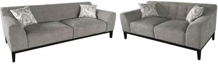 Marquee MARQUEESLMS Tufted Back Sofa & Loveseat 2PC Set with Accent Pillows  Hardwood Frame and Attached Seat & Tufted Back Cushions in Moonstone
