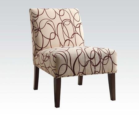 Aberly Collection 59070 30 inch  Accent Chair with O's Scribbled Pattern  Wooden Tapered Legs  Fabric Upholstery  Solid Wood and Rubberwood Materials in Espresso