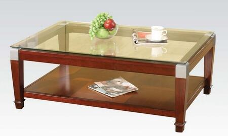 Rubby Collection 81485 50 inch  Coffee Table with Clear Glass Top  Bottom Shelf and Tapered Legs in Walnut