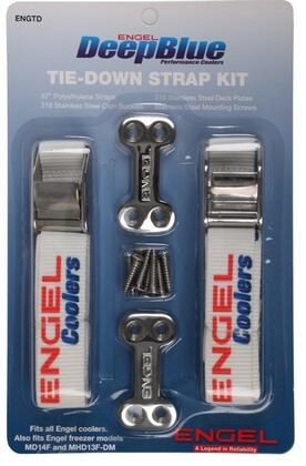 ENGTD Engel Tie-Down Strap Kit with 2 Low Profile Deck Plates  8 Stainless Steel Screws and 2 Web Straps with Cam Buckles in Stainless