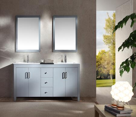 K060DGRY Ariel Hanson 60 inch  Double Sink Vanity Set with Black Granite Middle Countertop  Block Feet  and Simple Pulls in