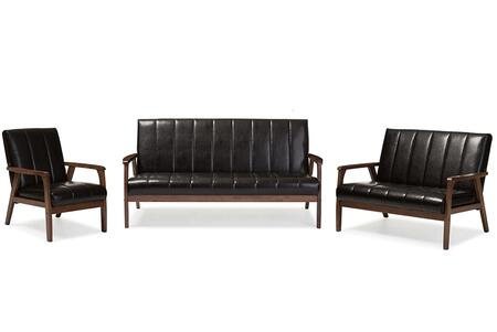 BBT8011A2-BROWN 3PC SET Baxton Studio Nikko Mid-century Modern Scandinavian Style Dark Brown Faux Leather 3 Pieces Living Room