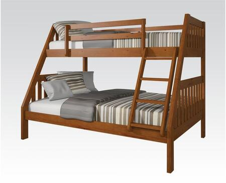 Ryo Collection 37125B Twin Over Full Size Bunk Bed with Reversible Front Ladder  Easy Access Guardrail  Slats System Included and Brazil Taeda Pine Wood