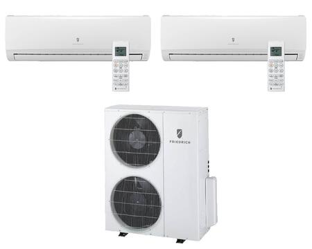 Multi-Zone Ductless Split System for 2 Rooms  with 21 000 BTUs  Inverter Technology  4-Way Auto Swing  Heat Pump  14.1 SEER  10.0 EER  and R410A