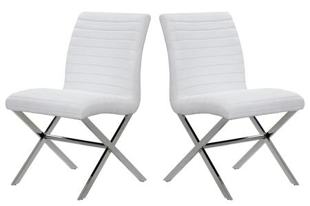 21204-60-2WH 22x22x36 Sasha Set of Two Dining Chairs in White Leatherette With Polished Stainless Steel