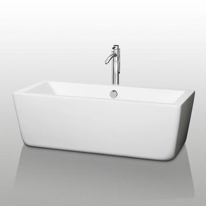 WCOBT100559 59 in. Center Drain Soaking Tub in White with Chrome