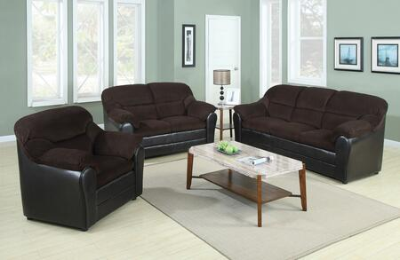 Connell Collection 15975SLCT 6 PC Living Room Set with Sofa + Loveseat + Chair + 3 PC Table Set in Espresso and Chocolate