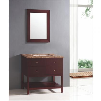 YVEC-049 31.5 inch  Wooden-Framed Mirror and 36 inch  Freestanding Wood Vanity Set with Brown Marble Countertop  Single White Ceramic Undermount Sink and 2 Full-Sized