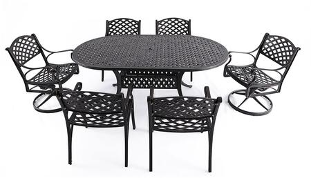 SCD002-03 7-Piece Cast Aluminum Patio Dining Set with 72