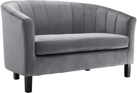Modway EEI-3137-GRY Prospect Channel Tufted Upholstered Velvet Loveseat Gray