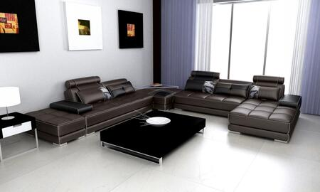 VGEV-SP-5005 Divani Casa Phantom Sectional Sofa with 2 Ottomans  End Table  Tufted Seating and Leather/Leather Match  Upholstery in