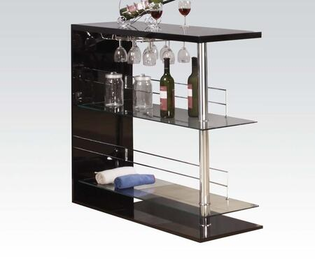 Valdin Collection 71305 42 inch  Bar Table with 8mm Clear Tempered Glass Shelves  Stemware Rack and Wood Construction in Black and Chrome